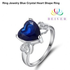 Platinum plated  blue heart shaped crystal ring